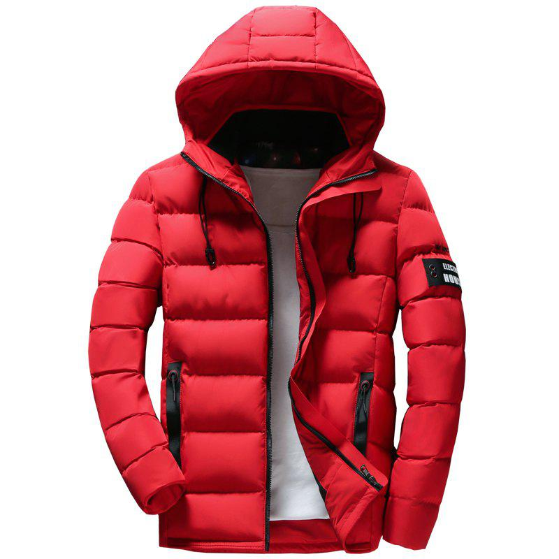 Discount Men Quilted Coat Solid Color Casual Warm Hooded