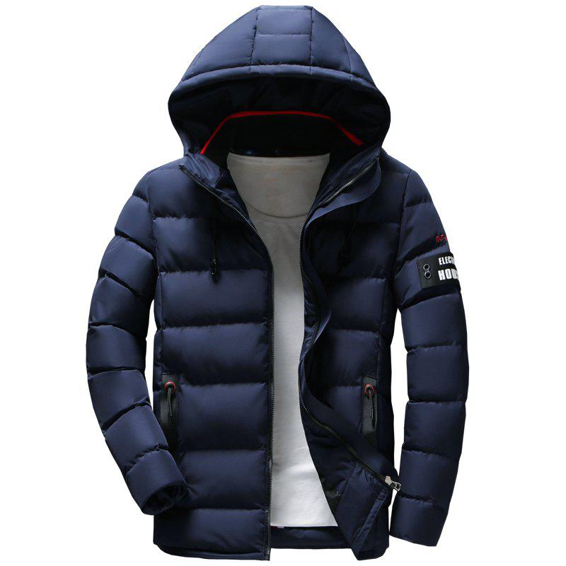 Unique Men Quilted Coat Solid Color Casual Warm Hooded