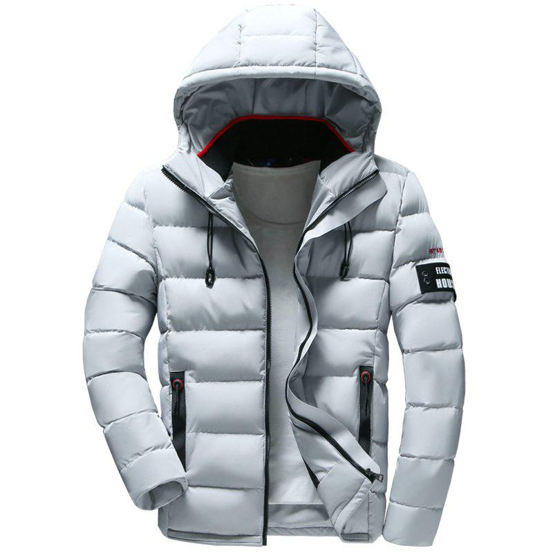 New Men Quilted Coat Solid Color Casual Warm Hooded