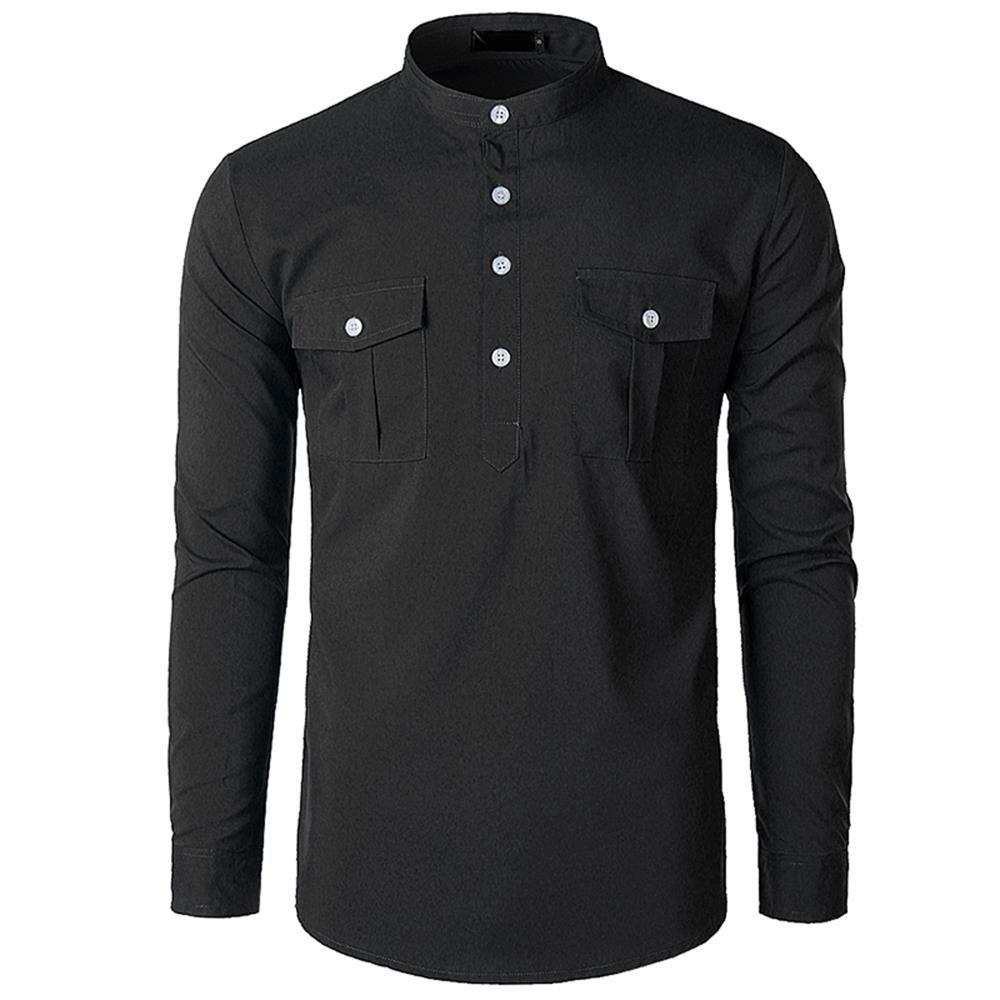 156365247 46% OFF] Men's Stand Collar Double Pocket Long Sleeve Shirt | Rosegal