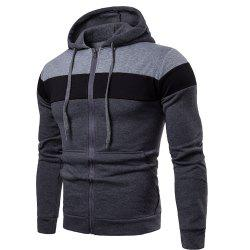 2018 Stitching Sleeve Casual Hooded Men's Sweater -