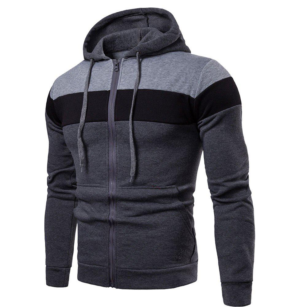 Fancy 2018 Stitching Sleeve Casual Hooded Men's Sweater