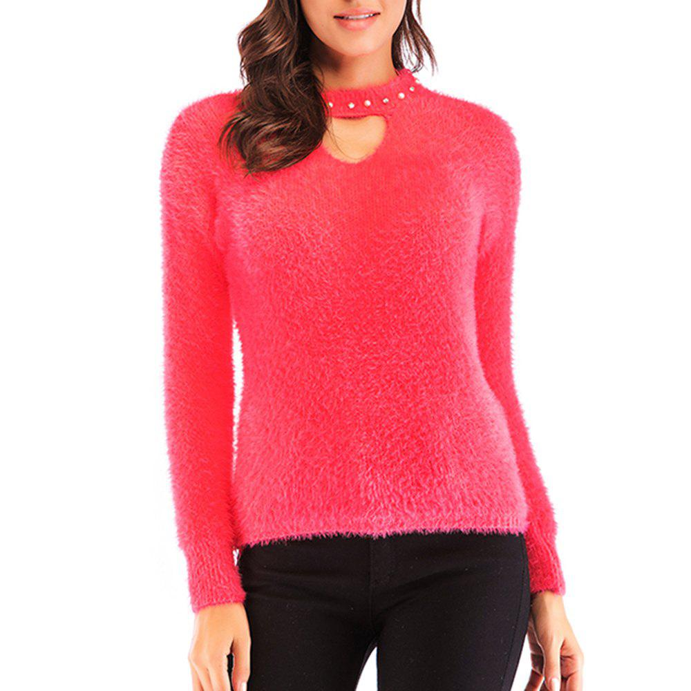 Discount Autumn and Winter New women S Sweet Hollow Beaded Thick Pullover  Sweater 556136a60