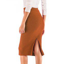 Autumn New Knit Skirt Hip Skirt Solid Color Knitted Skirt -