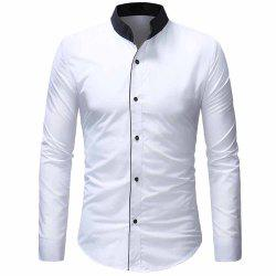 Men's Fashion Contrast Color Stand Collar Access Control Layering Casual shirt -