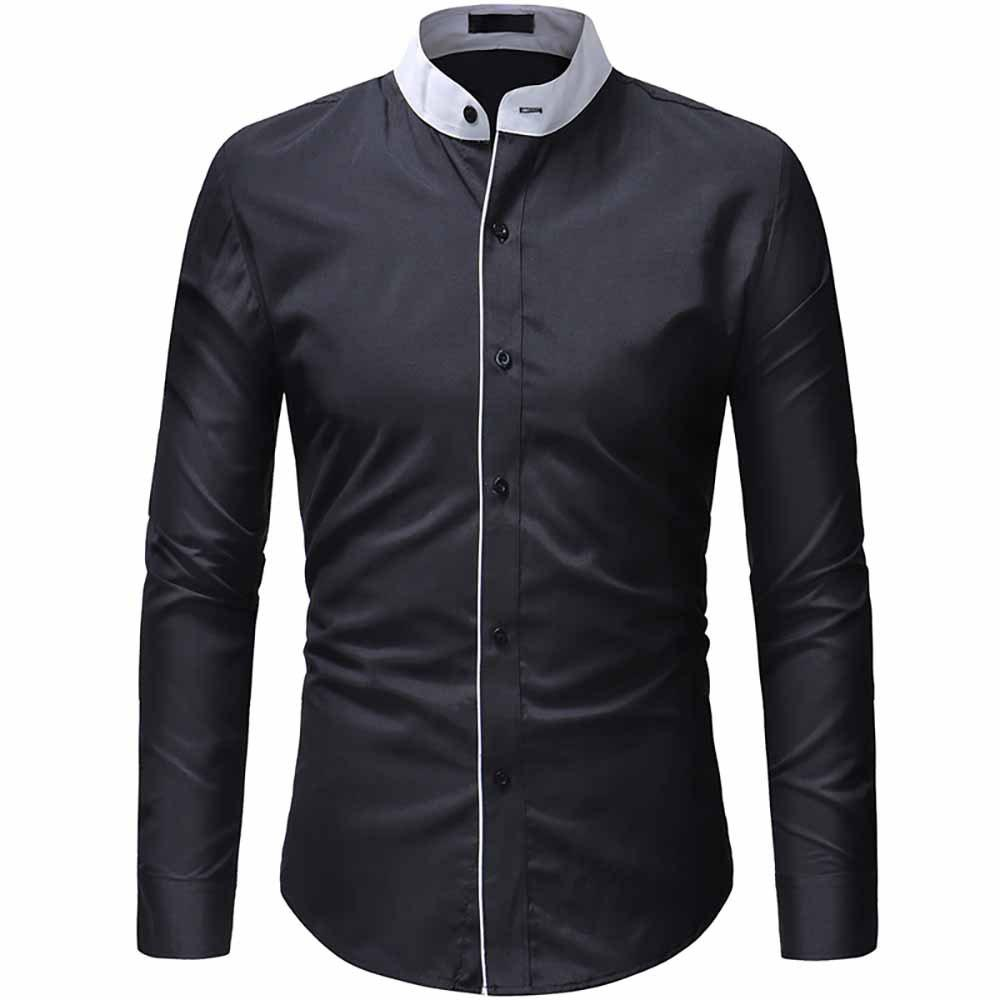 Latest Men's Fashion Contrast Color Stand Collar Access Control Layering Casual shirt