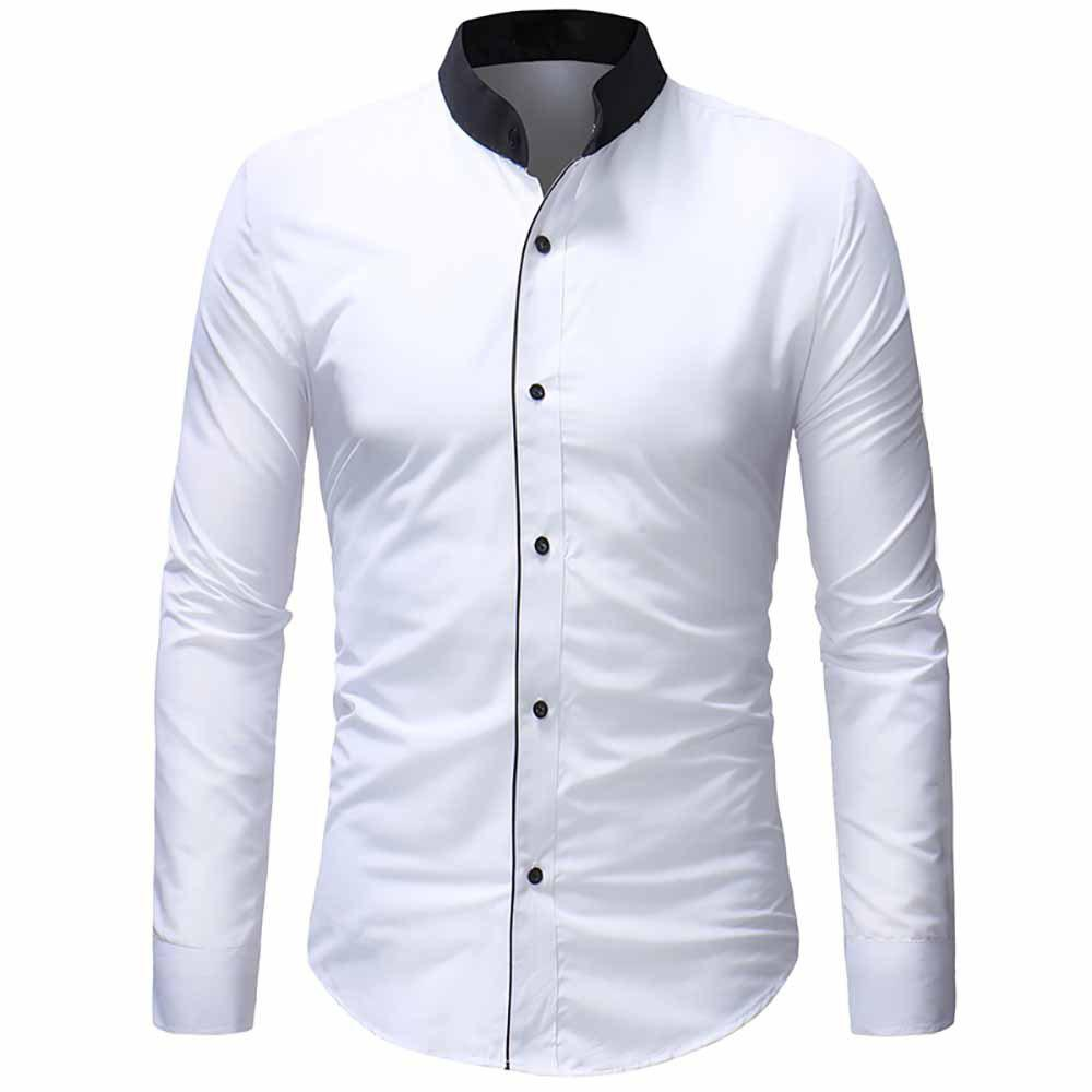 Discount Men's Fashion Contrast Color Stand Collar Access Control Layering Casual shirt