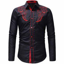 Men's Classic Embroidered Top Casual Slim Long Sleeve Shirt -