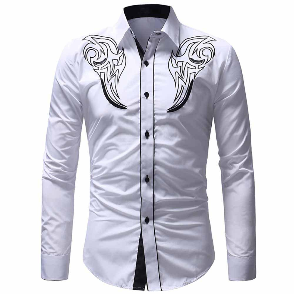 Affordable Men's Classic Embroidered Top Casual Slim Long Sleeve Shirt