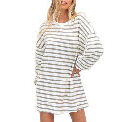 Fashionable Stripe Is Long Sleeve Dress with Round Collar -