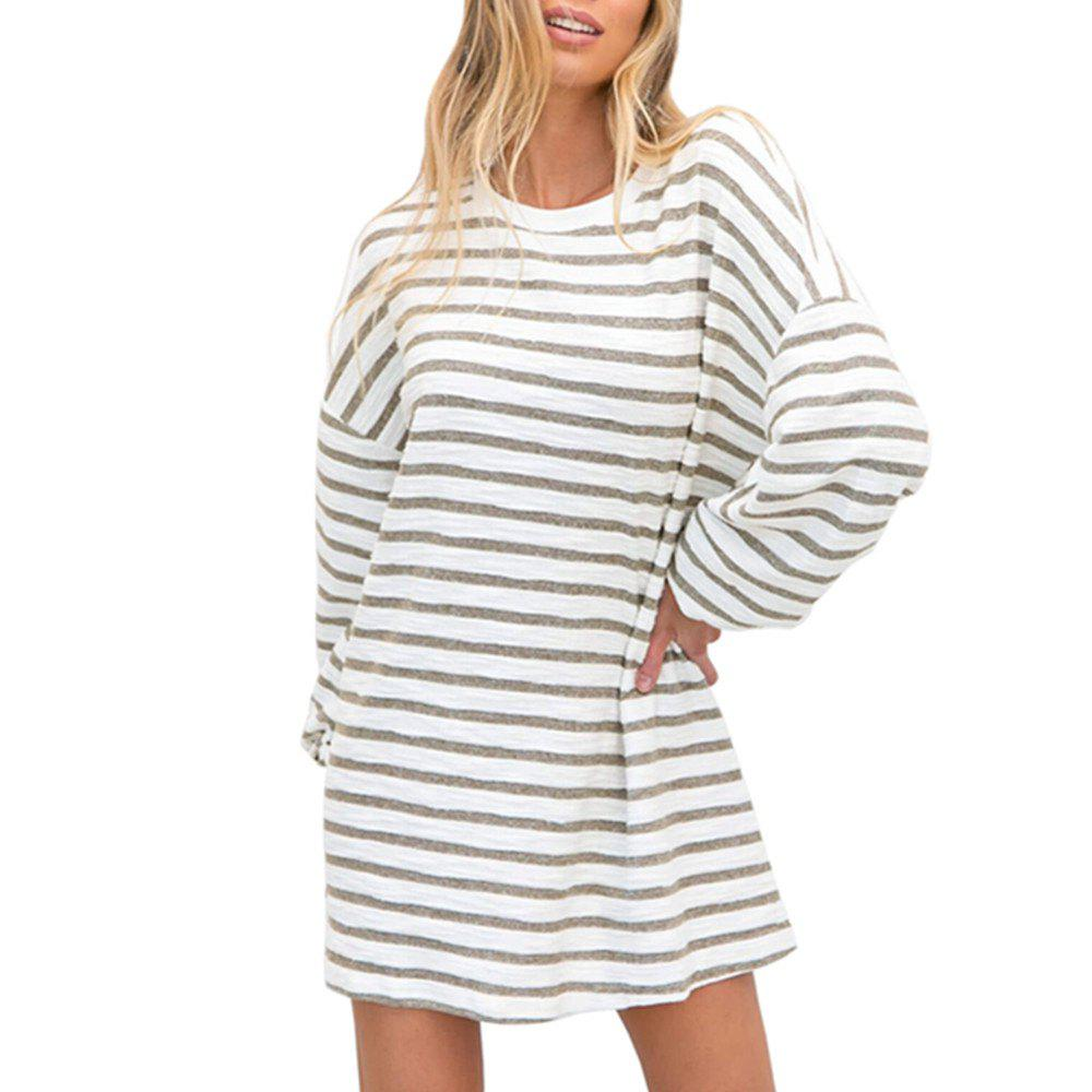 Outfits Fashionable Stripe Is Long Sleeve Dress with Round Collar