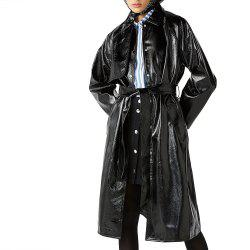 Classic Waistband Knotted Split Leather Trench Coat -