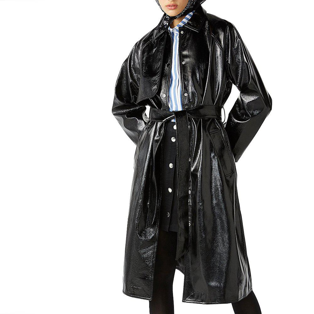 Buy Classic Waistband Knotted Split Leather Trench Coat