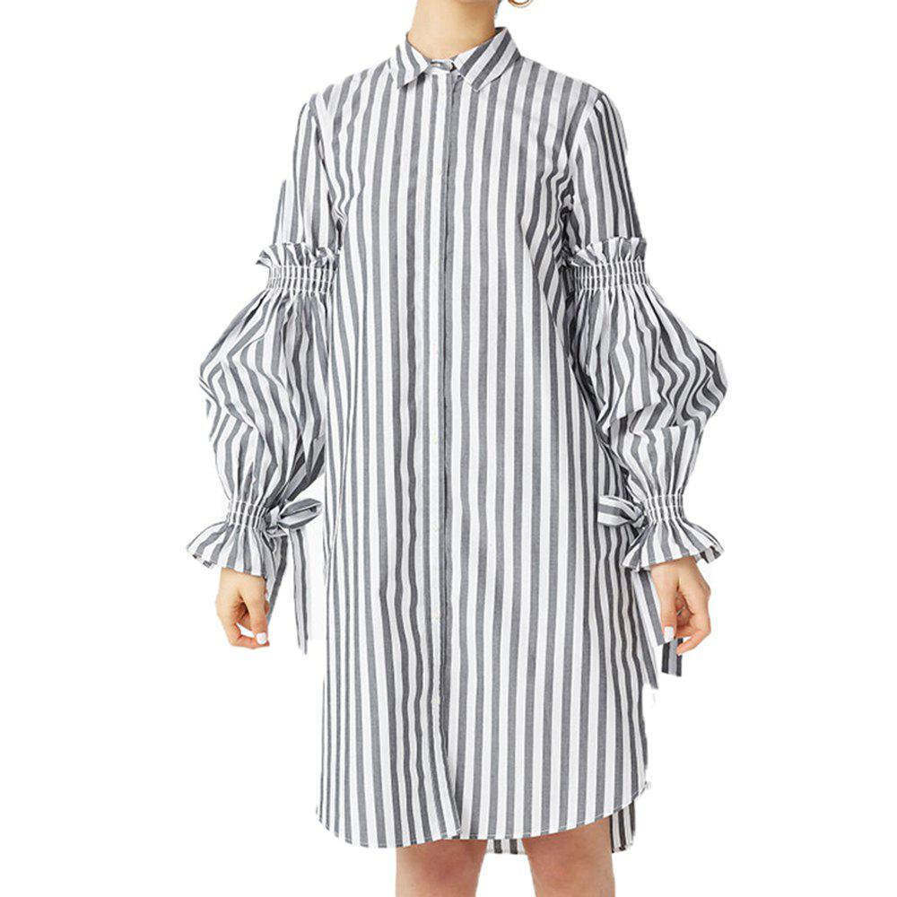 Online Simple Striped Lanterns Cuff Ties Pleated Shirt Dress