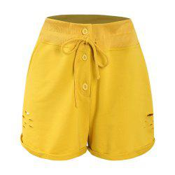 Ginger Yellow Irregular Flanging Hole Shorts -