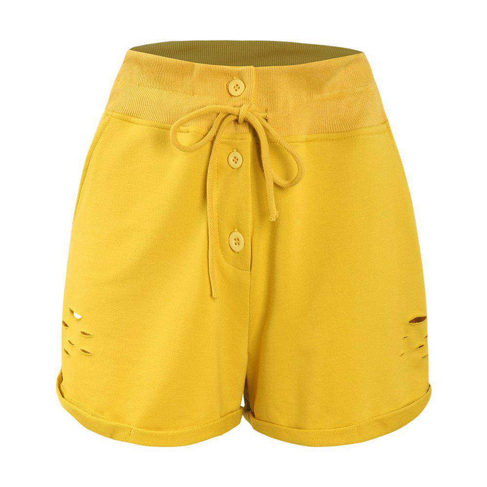 Affordable Ginger Yellow Irregular Flanging Hole Shorts