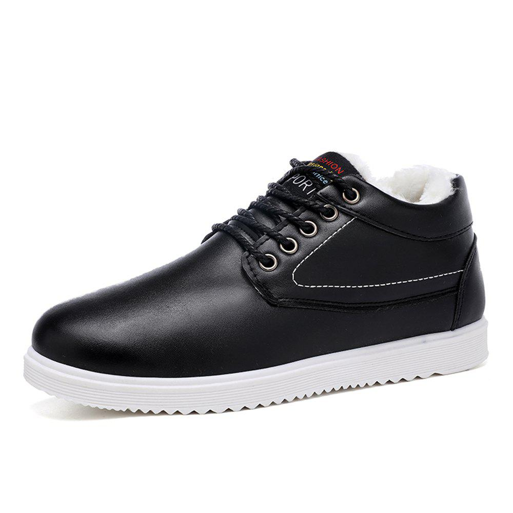 Shop Men Solid Brief Winter Cotton-Padded Flat Shoes
