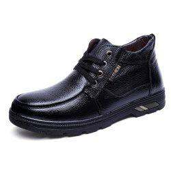 Men Winter Cotton-Padded Warming Lace up Leisure Leather Shoes -
