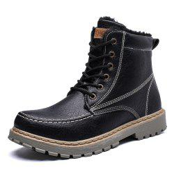 Men Winter High-Cut Cotton-Padded Leisure Fashion Leather Shoes -