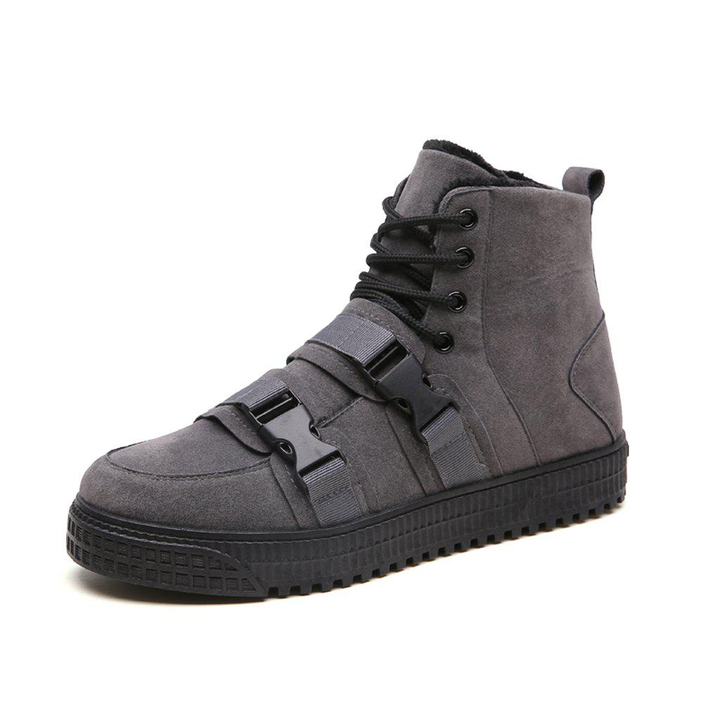 Buy Men Winter Solid Cotton-Padded High-Cut Casual Flat Shoes