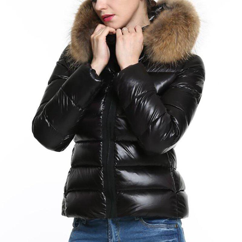Fashion Women Jacket Black Puffer Coat Faux Fur Hooded Long Sleeves Quilted  For Winter c5138df559