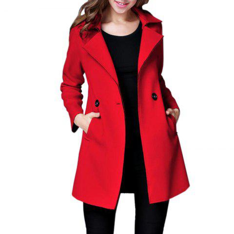 083e5a40669 Women Peacoat Long Sleeve Button Turndown Collar Woolen Winter Overcoat
