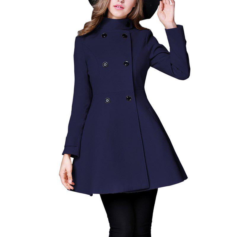 Best Women's Coat Stand Collar Double Breasted Slim Fit Flared Windproof Outerwear