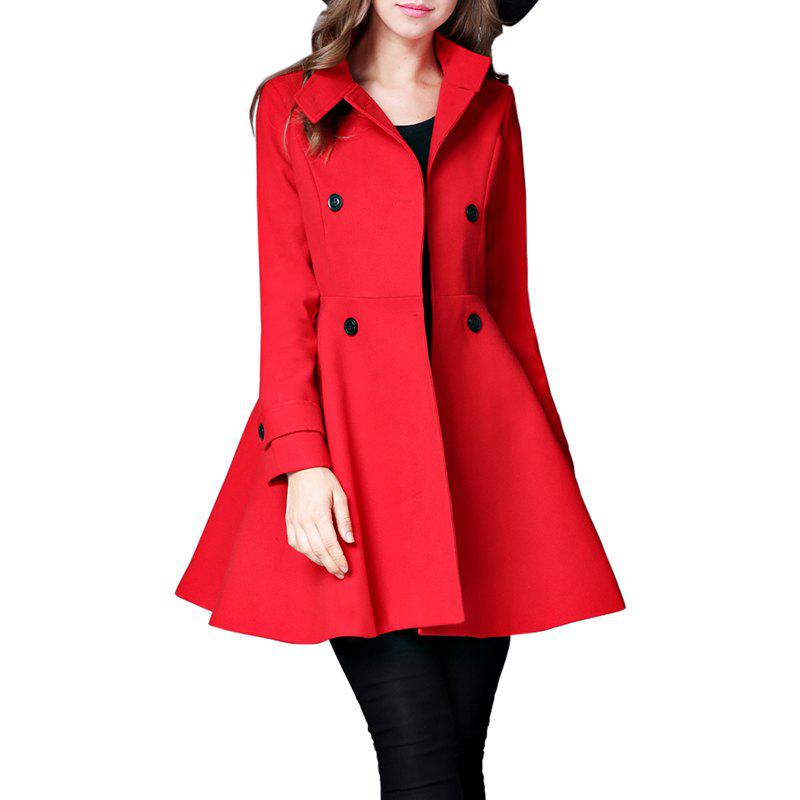 New Women's Coat Stand Collar Double Breasted Slim Fit Flared Windproof Outerwear