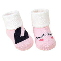 2Pcs Cute Cartoon Printed Thick Breathable Infant Booties Baby Shoe Socks -