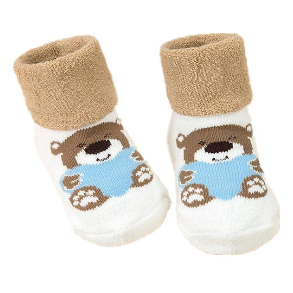 Shop 2Pcs Cute Cartoon Printed Thick Breathable Infant Booties Baby Shoe Socks