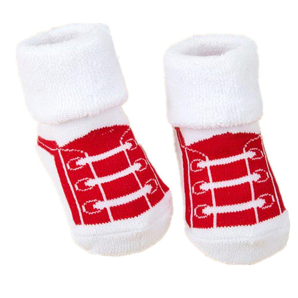 New 2Pcs Cute Cartoon Printed Thick Breathable Infant Booties Baby Shoe Socks