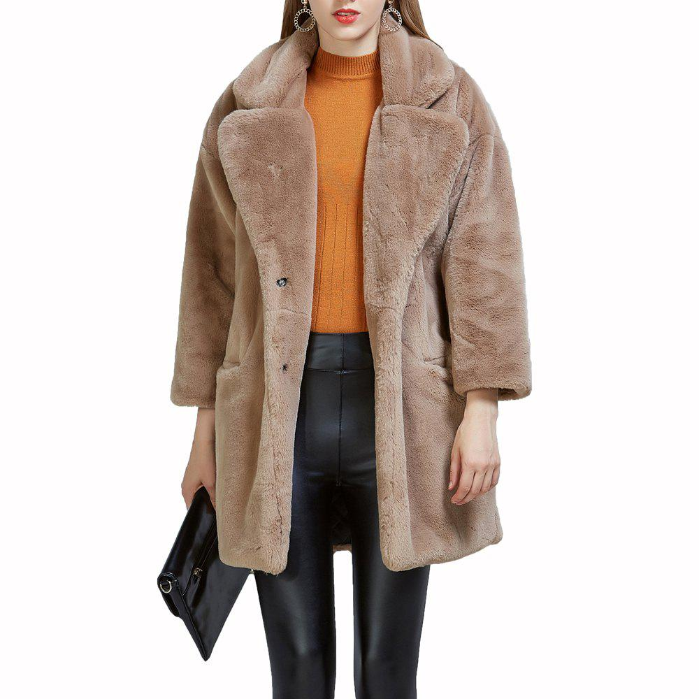 Shop Women's Synthetic Fur Coat Solid Color Notched Collar Outerwear