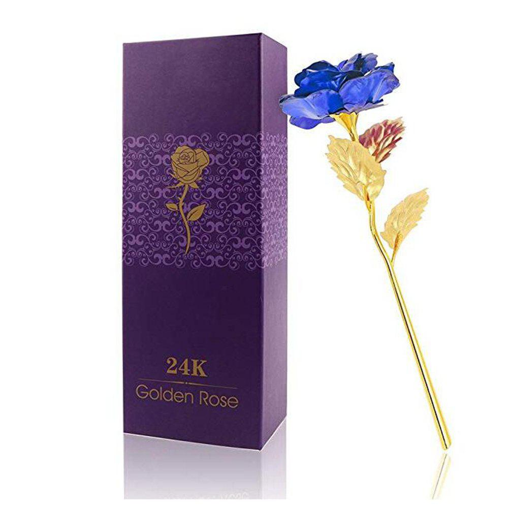 New 24K Mother's Day Gift Gold Dipped Long Stem Rose Flower for Wedding Gift Box