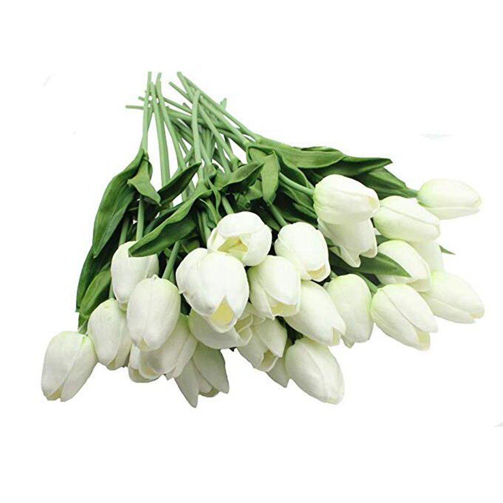 Affordable 8pcs Artificial Flowers Tulip with Leaves Flower Bouquets Home Wedding Decoratio