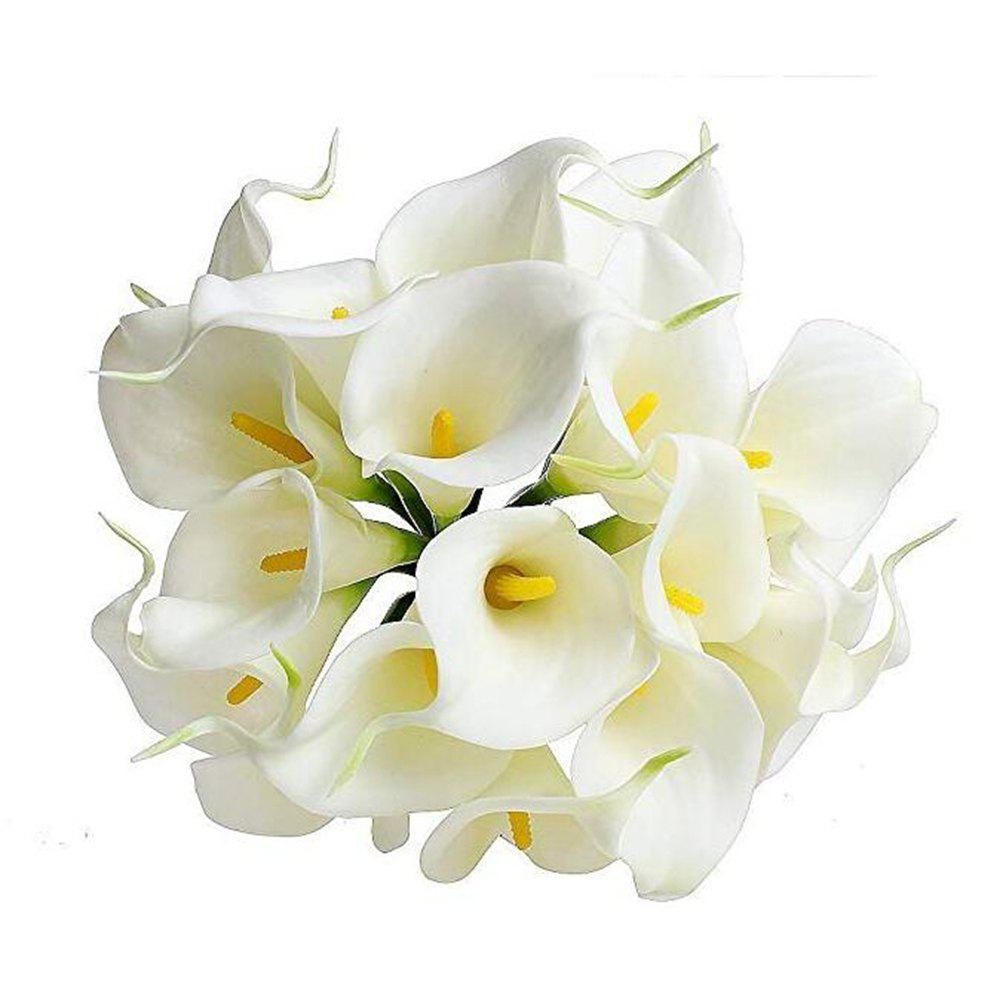 Trendy 10pcs Calla Lily Artificial Flowers Wedding Bridal Bouquet Latex Real Touch Home