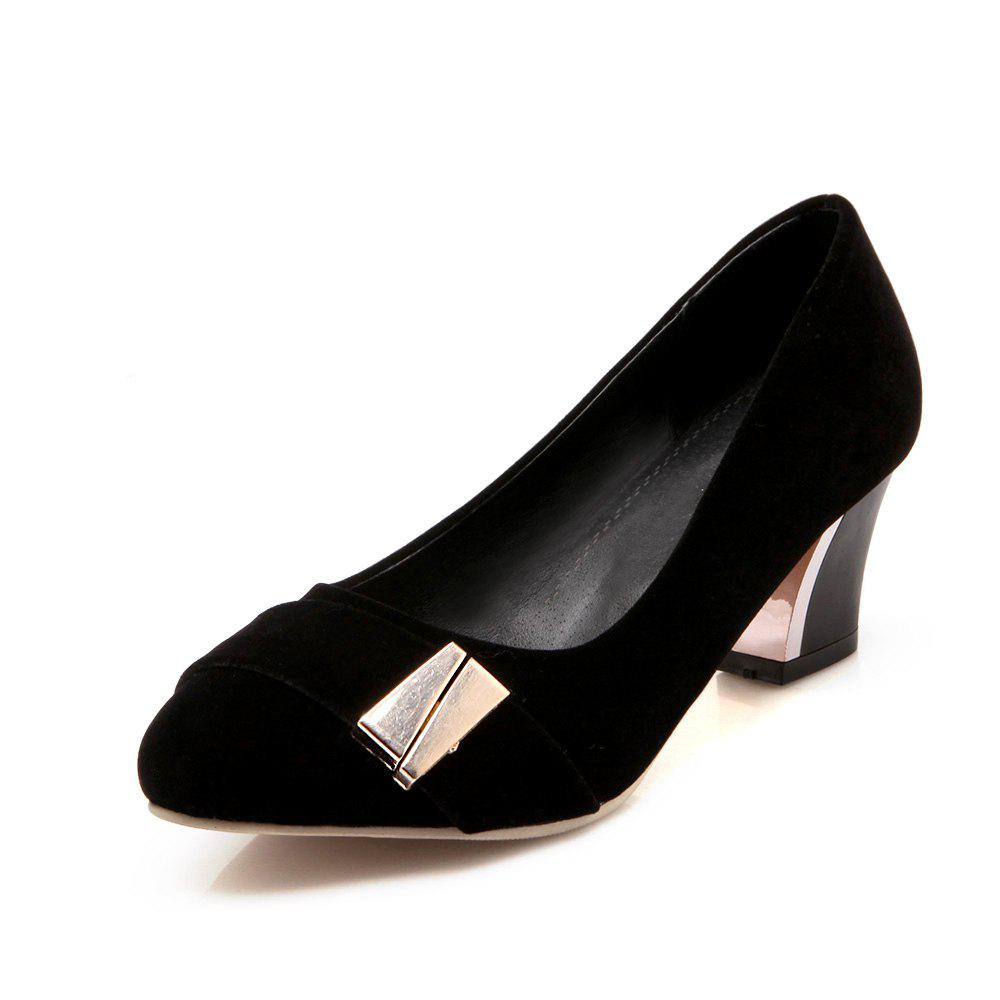 Affordable Thick Heel Suede Metal Fasteners Professional Women Shoes
