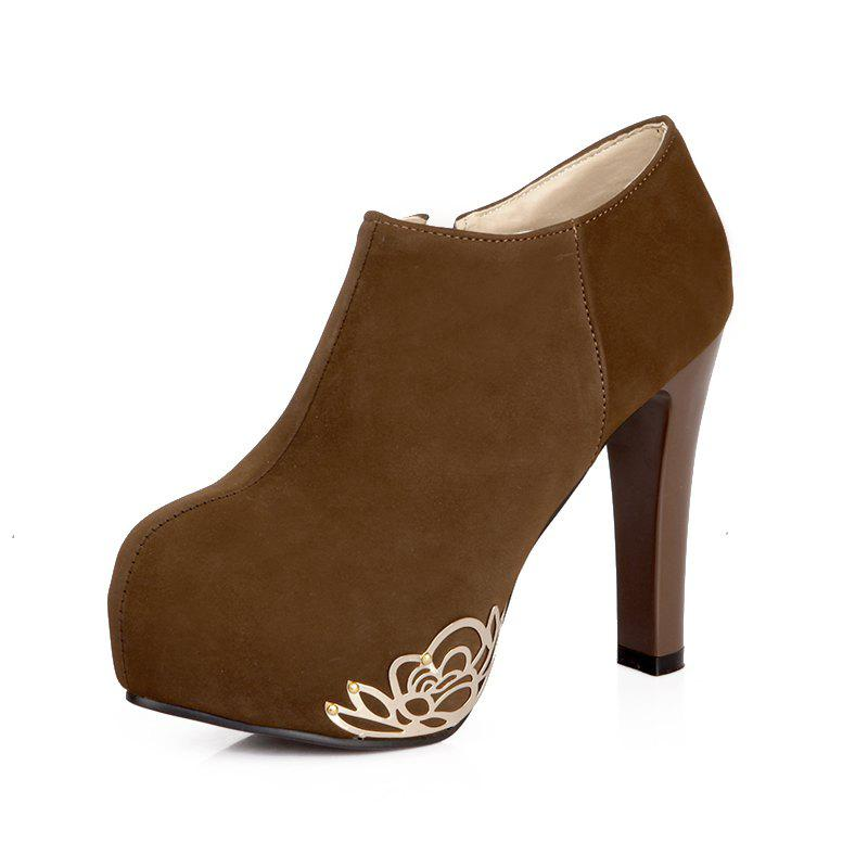 Outfit Thick High Heel Round Head Sanding Wedding Metal Ankle Boots