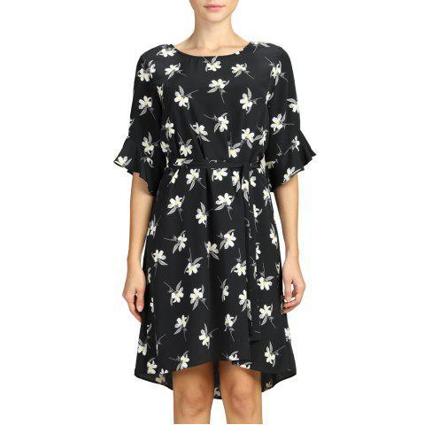 SBETRO Female Dress Floral Print Flare Sleeve Black Casual Women Dress with Tie