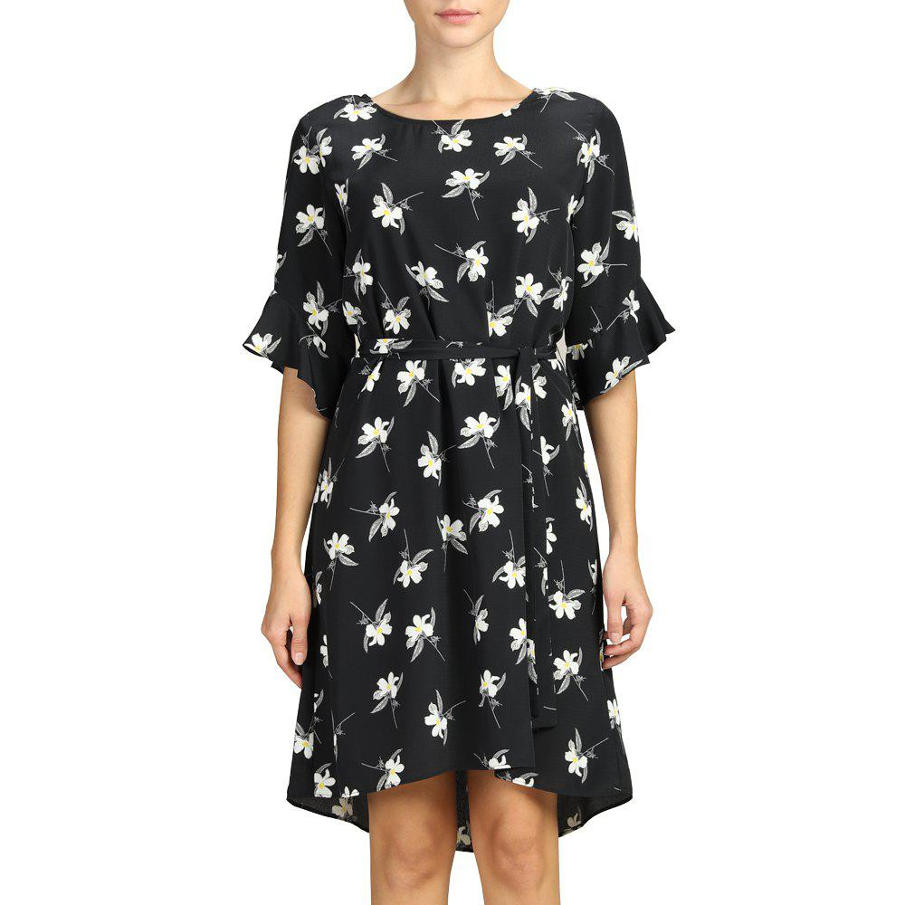 Shops SBETRO Female Dress Floral Print Flare Sleeve Black Casual Women Dress with Tie