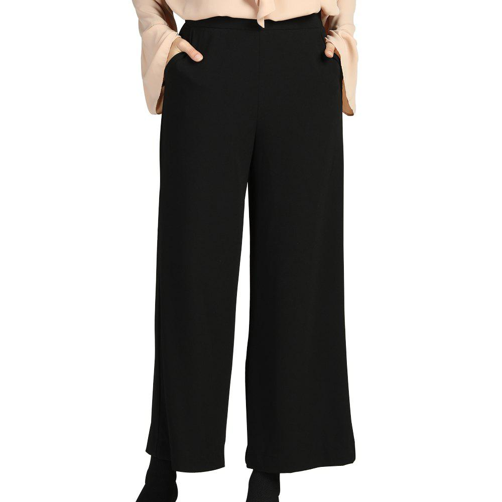 Best SBETRO Women Black Wide Leg Pants Office Ladies Female Fashion Work Trousers