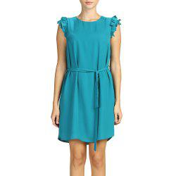 SBETRO Casual Dress Solid Colored Sundress with Tie Button Autumn Winter -