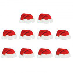 Christmas Santa Hat Wine Glass Decoration New Year Party Supplies 10PCS -