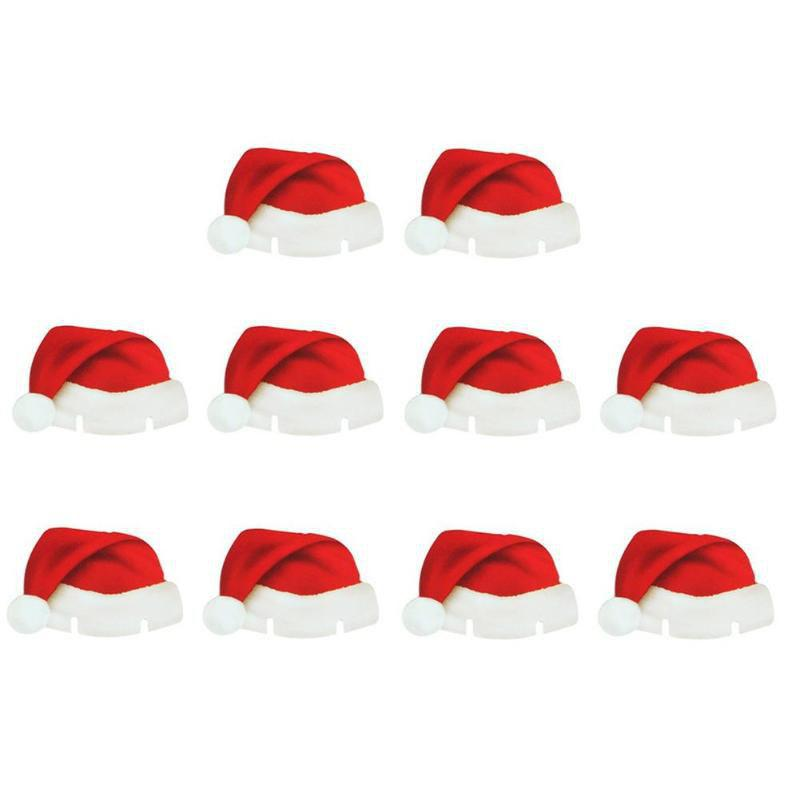Cheap Christmas Santa Hat Wine Glass Decoration New Year Party Supplies 10PCS