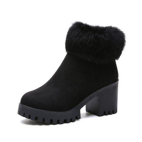 Round head short tube side zipper suede rough and hairy fashion fashion boots