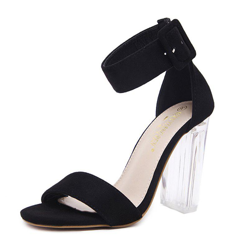 Fashion Women's Square Heel Sandals Japanese High Heels Black
