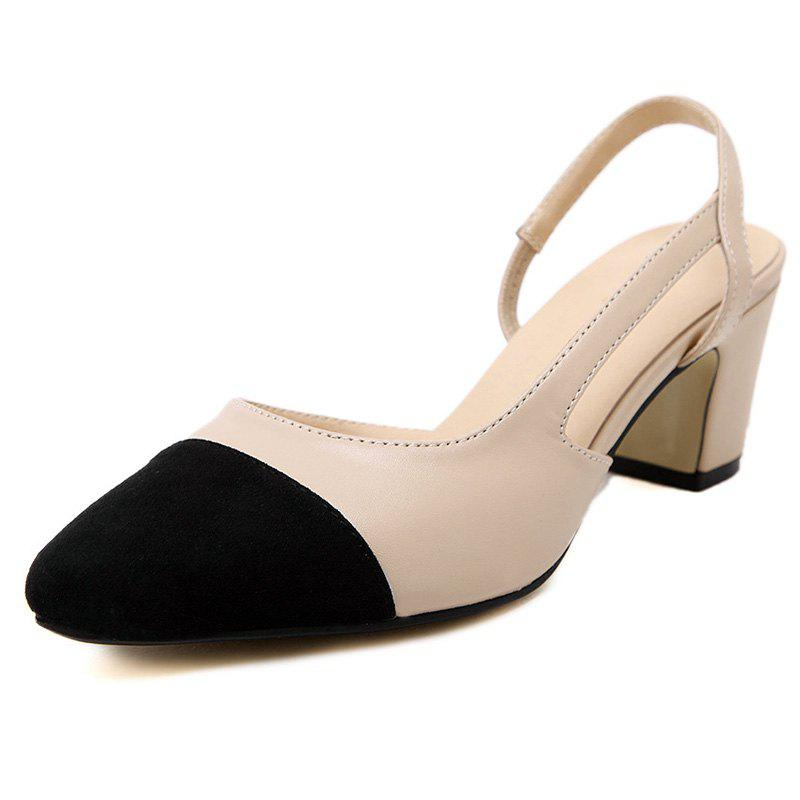 Latest Women's Pointed Toe Chunky Heel Open Side Shoes Casual Sandals