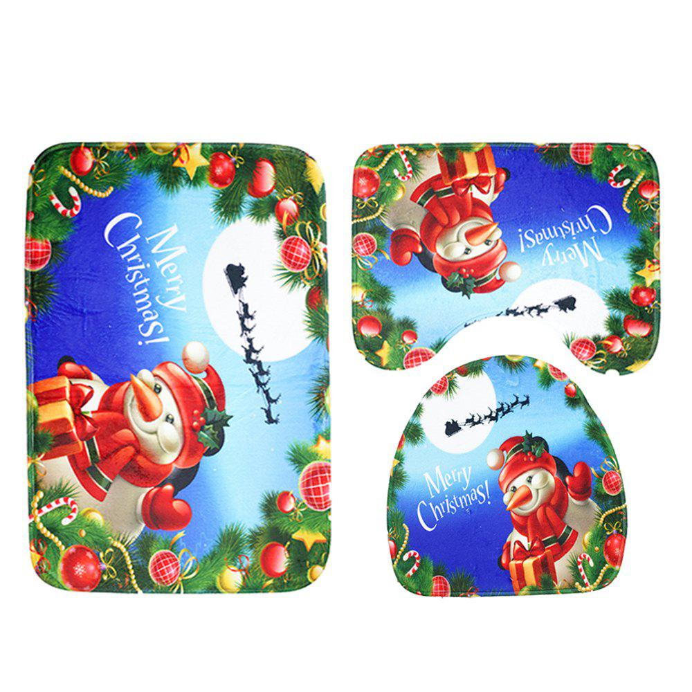 Christmas Mat Three-Piece Toilet Seat Cover Carpet Bathroom Mat Set