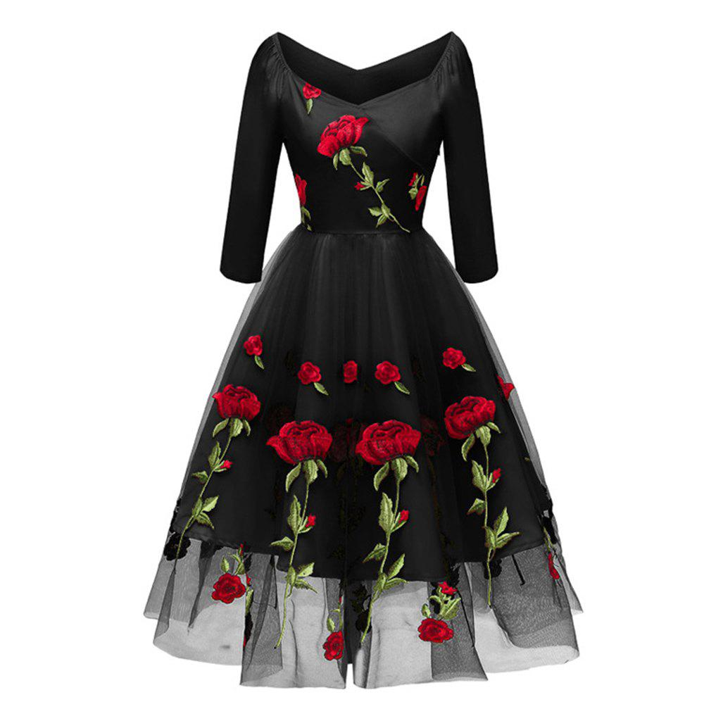 Affordable Party Dress Embroidered Rose Bud Silk Gauze Seven-Point Sleeve Dress
