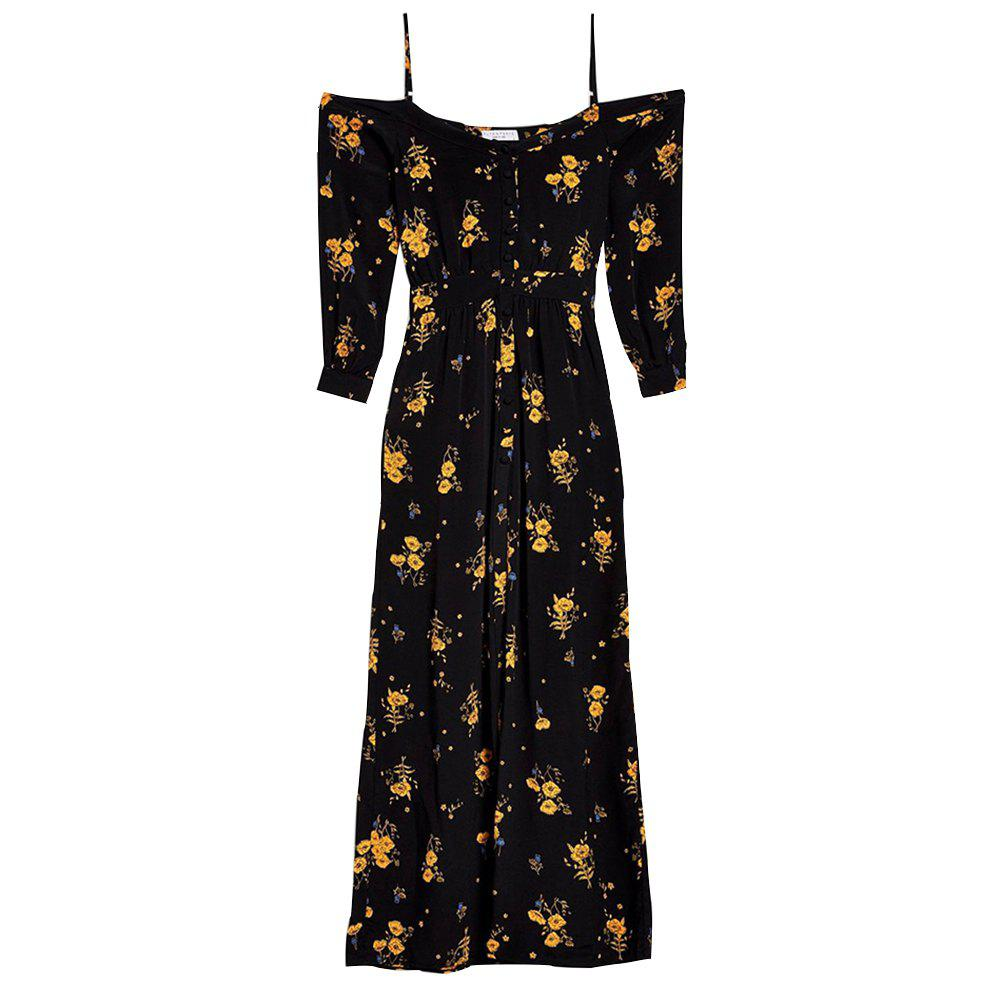 Trendy Boat Neck Holiday Flower Printing Sling Dress