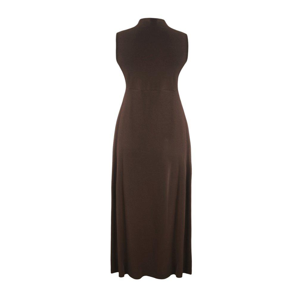 Outfit Concise Split Sleeveless Half-Necked A-Length Dress